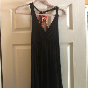 Knee length black dress razor back